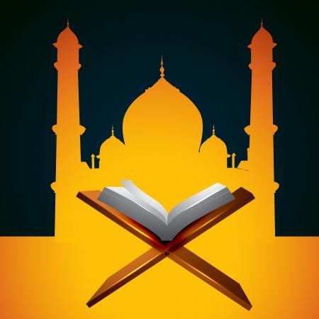 kuran: vettoriale libro sacro Corano di fronte a moschea