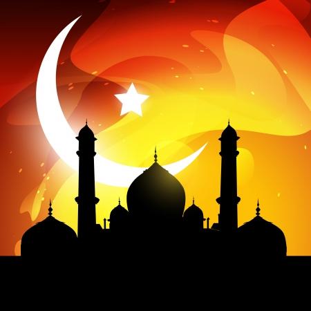 muslim pray: stylish glowing ramadan kareem vector illustration