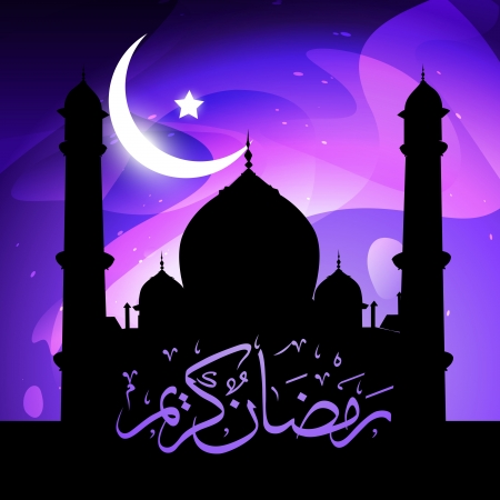 beautiful glowing mosque ramadan kareem vector Stock Vector - 14481521