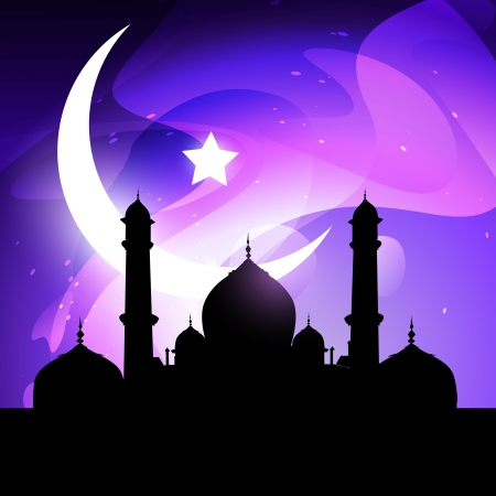 islam moon: ramadhan and eid illustration with mosque and moon Illustration