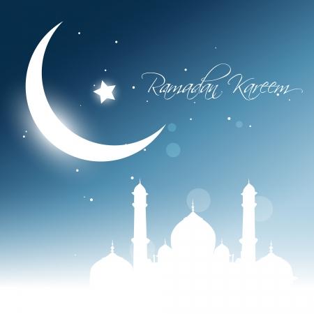 beautiful glowing moon background. Ramadhan kareem vector Vector