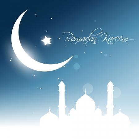美丽的发光的月亮背景。Ramadhan kareem向量