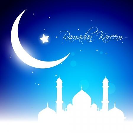 mosque illustration: beautiful glowing moon background. Ramadhan kareem vector Illustration