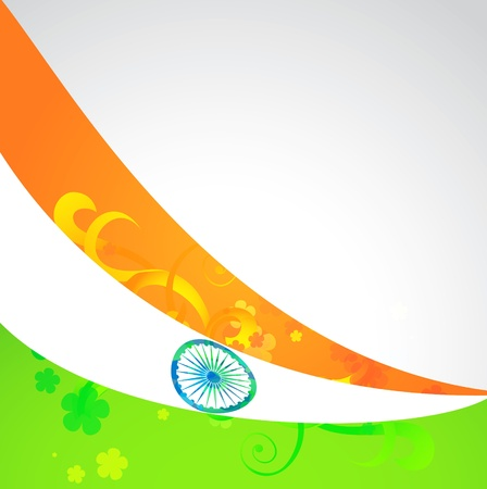 indian vector flag in wave style background Vector