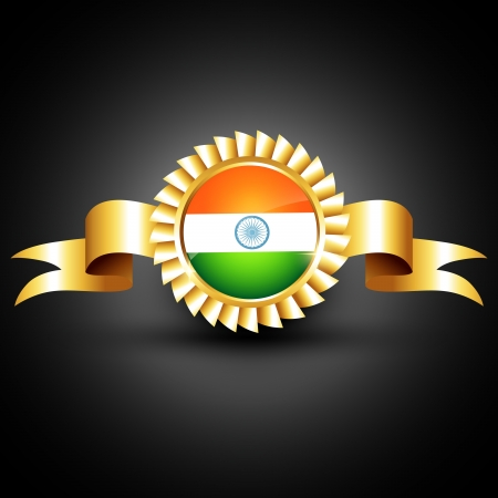 indian flag golden label design Vector