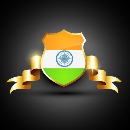world heritage: indian flag golden label design