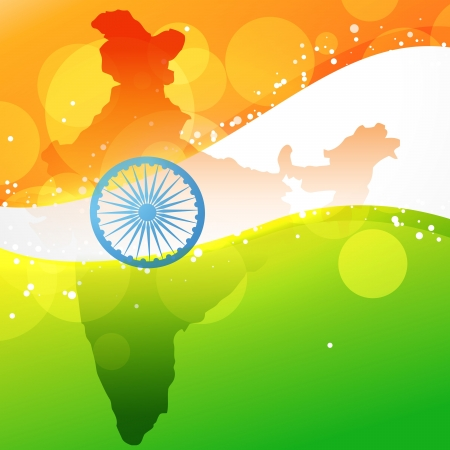 indian art: vector indian map with flag design Illustration
