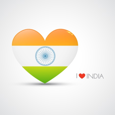 vector indian flag in heart shape design Vector