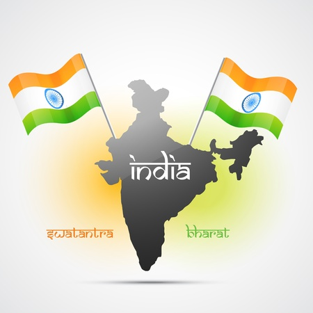 bharat: vector indian flag map design art Illustration
