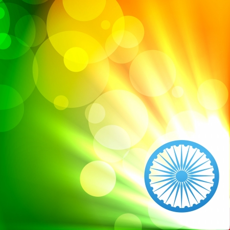 インド: 美しく輝くインドの国旗のベクトルのデザイン