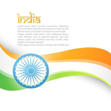 bandera de LA INDIA: vector de bandera de la India estilo de onda de diseño de arte