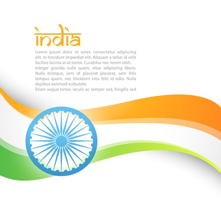 26: vector indian flag style wave design art Illustration