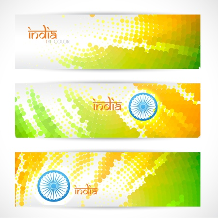 tricolor: set of indian vector flag headers