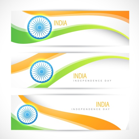 indian art: creative indian flag headers design Illustration