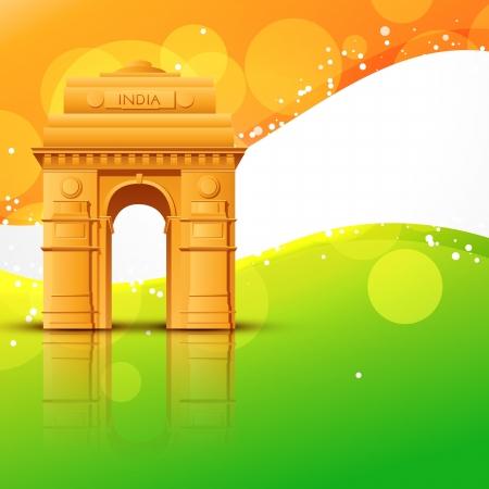 インド: インドの旗の設計とインド門をベクトルします。