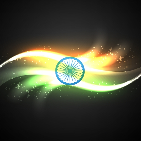 bharat: vector shiny neon style indian flag design Illustration