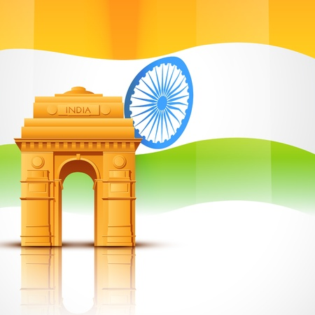 hinduism: vector india gate with indian flag design