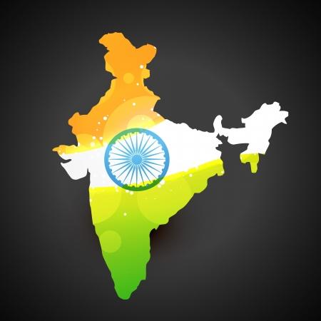drapeau inde: vecteur inde carte avec l'art de conception de drapeau Illustration