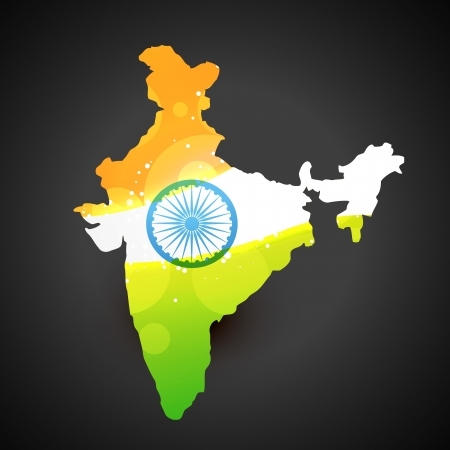 india people: vector india map with flag design art