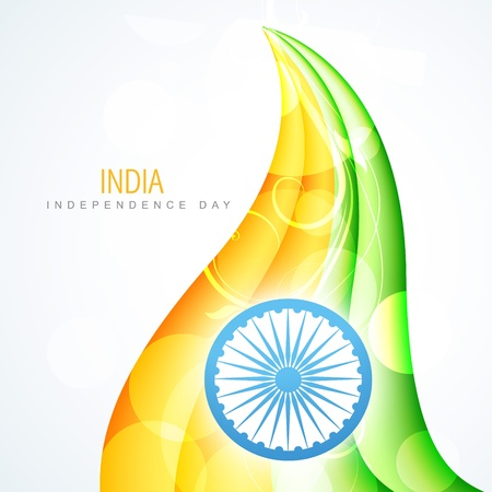 republic day: creative wave style indian flag design