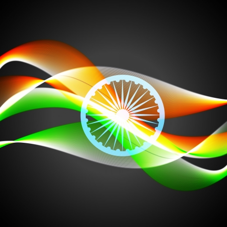 vector wave style indian flag background Stock Vector - 14693124