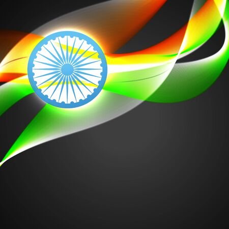 indian flag in wave style vector background