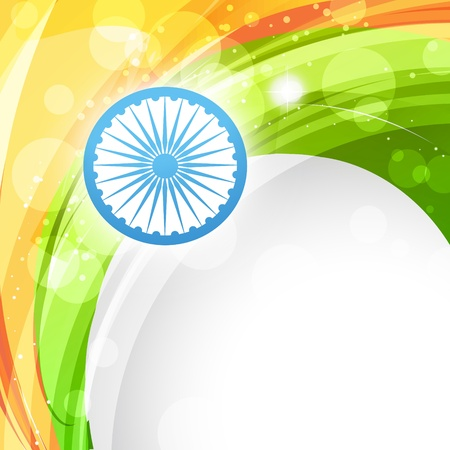 bharat: indian vector flag in wave style background
