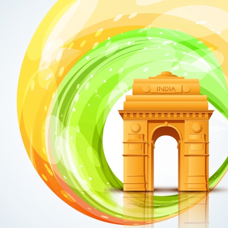 india gate: vector india gate with indian flag design