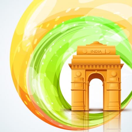 bandera de la india: vector Puerta de la India con diseño de la bandera india
