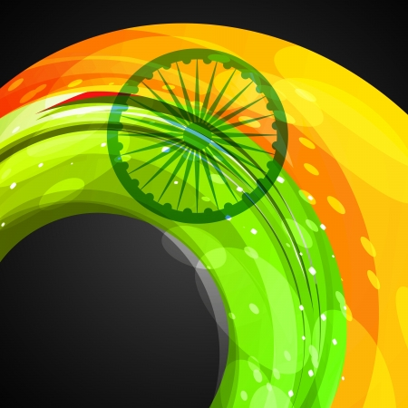 bharat: indian flag in wave style vector background