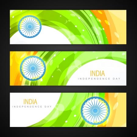 green flag: creative indian flag headers design Illustration