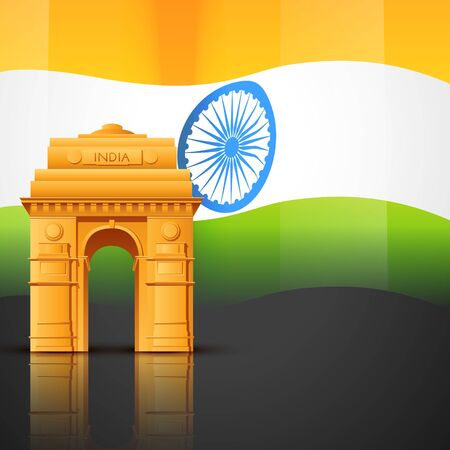 india gate: creative indian flag vector with india gate