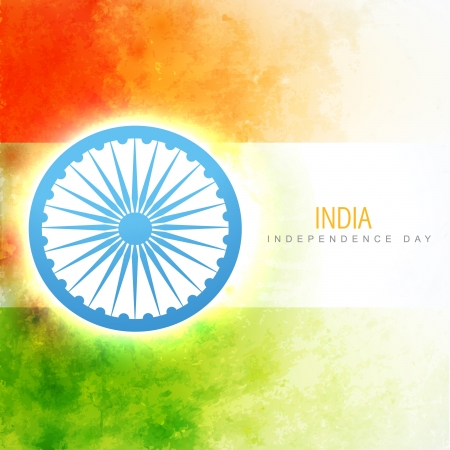 the concept of independence: vector indian flag in grunge style background