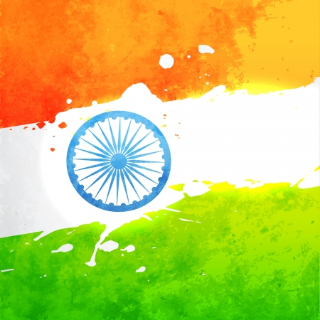 the concept of independence: indian flag in grunge style vector background Illustration