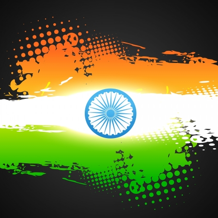 tricolor: grunge style indian flag vector