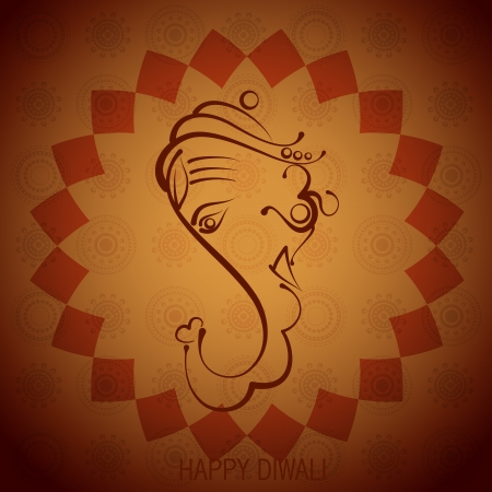artistic indian god ganesh illustration Vector