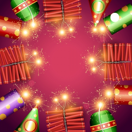 vector diwali festival crackers illustration Vector
