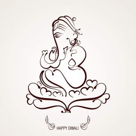 deepak: beautiful indian god ganesh illustration