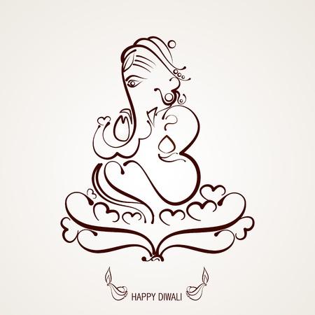 deepawali: hermoso indio dios ganesh ilustraci�n