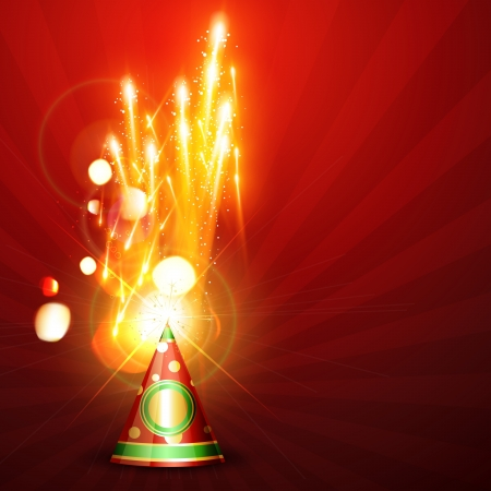 beautiful festival fireworks on red background Vector