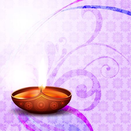 diwali festival diya on artistic background Vector