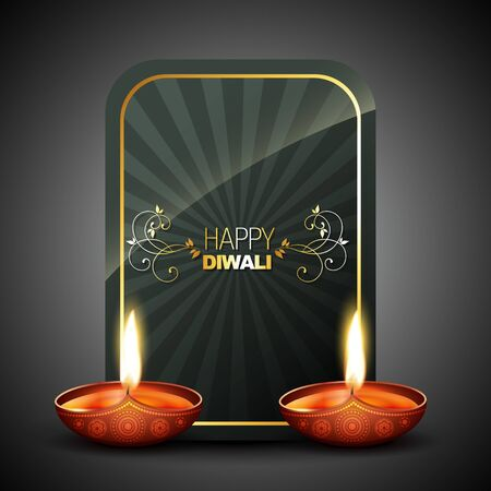 diwali diya with space for your text Vector
