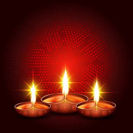 shiny diwali diya with space for your text Vector