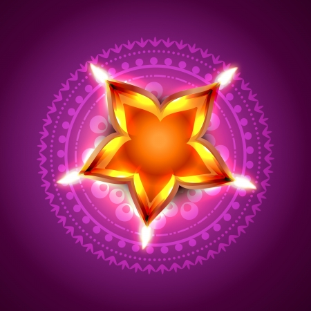 beautiful diwali festival diya on artistic background Vector