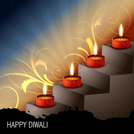 beautiful diwali festival diya on artistic background Stock Vector - 15656158