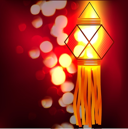 beautiful glowing diwali lamp illustration Vector
