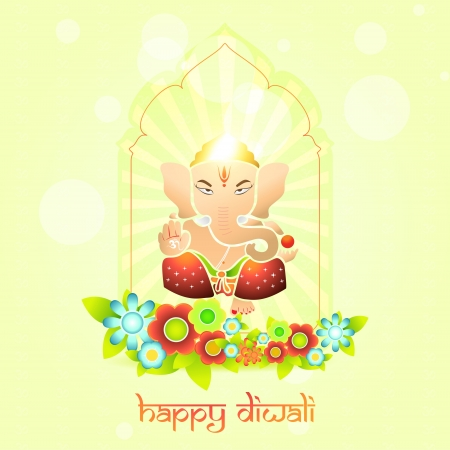beautiful indian god ganesh on colorful background Vector