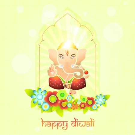 indian god: beautiful indian god ganesh on colorful background Illustration