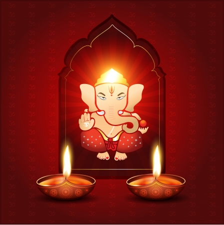beautiful indian god ganesh illustration Vector