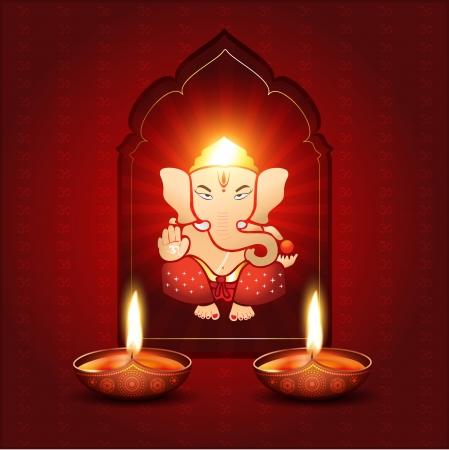 indian light: hermoso indio dios ganesh ilustraci�n